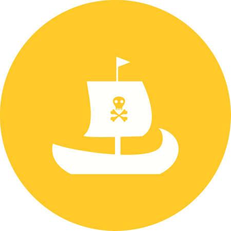 Pirate Ship icon in orange circle on white background.