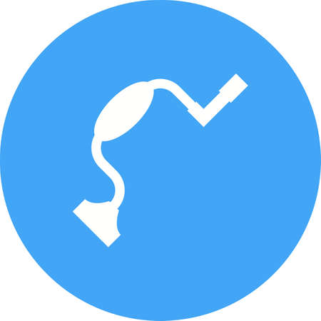 Brace, Hand, tool in blue circle on white background. Illustration