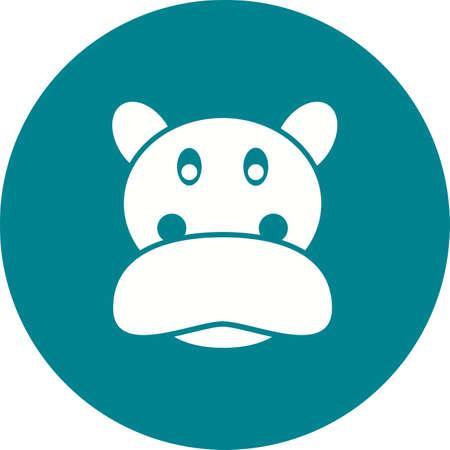 Hippopotamus face icon image illustration Stock Illustratie