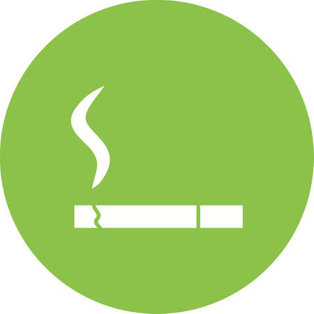 Lit Cigarette icon in green circle on white background.