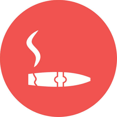 Lit Cigar Lighter icon in red circle on white background.