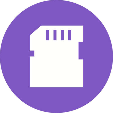 SD Card icon in white silhouette illustration on round frame.