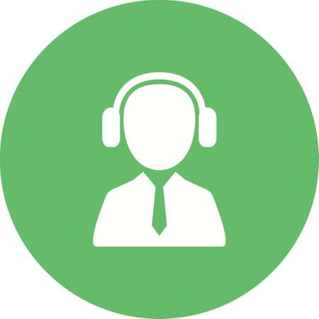 Customer service agent Listening Icon illustration Vettoriali