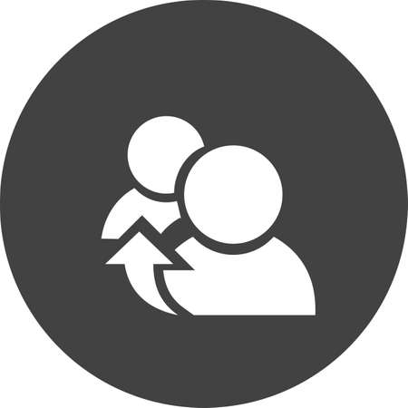 Referrals, reference and meeting icon on black and white illustration.