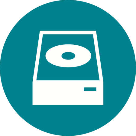DVD ROM Icon on colored backdrop illustration.