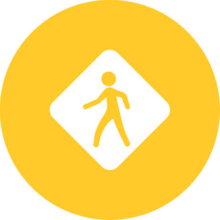Pedestrian Sign  icon on color circle Vector illustration.