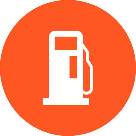 Gas Station Service icon on color circle Vector illustration. Illustration