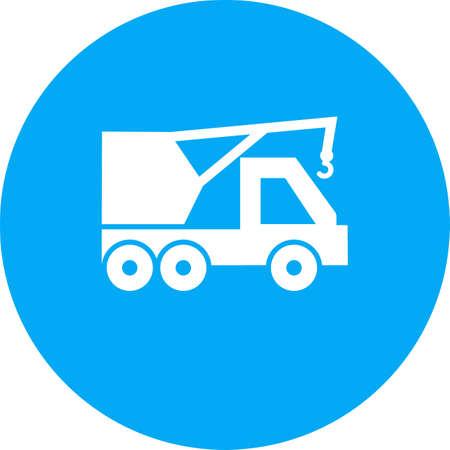 Heavy Crane  icon on color circle Vector illustration.