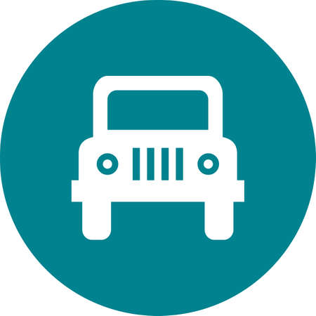 Vehicle icon on color circle Vector illustration.