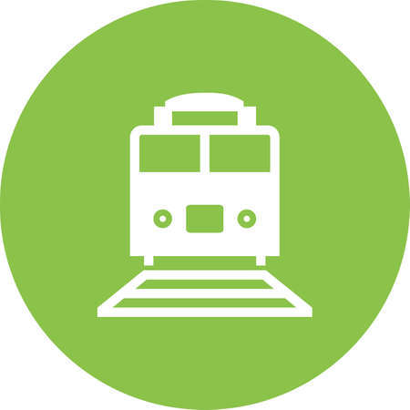 Train icon on color circle Vector illustration.