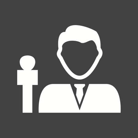 News male, anchor icon vector image. Ilustração