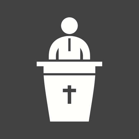Speaker in funeral icon vector image. Ilustrace