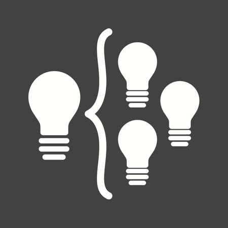 Idea light bulb producing more ideas illustration