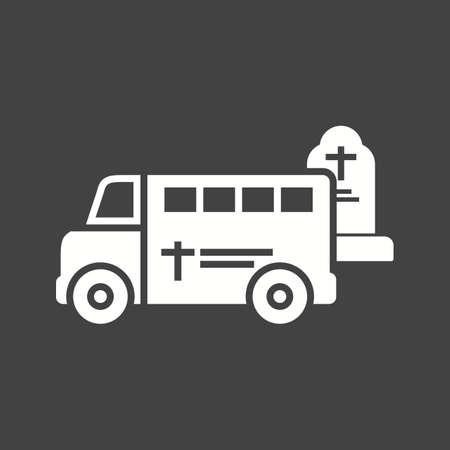 Funeral hearse or van in graveyard  icon vector image.
