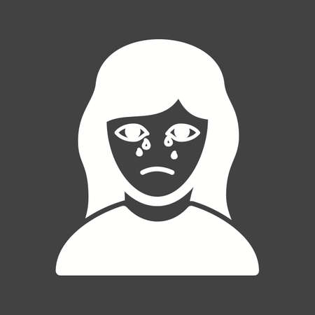 Crying lady in funeral icon vector image.