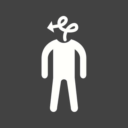 person silhouette with arrow for head on black background. Vector illustration.