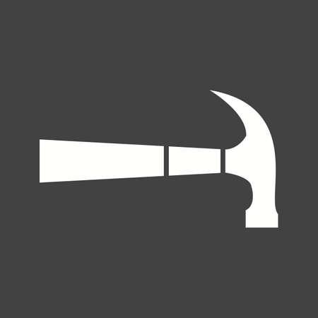 Hammer tool hardware Icon isolated on black background. Vector illustration. Illustration