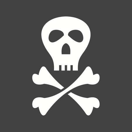 Pirate Sign  Icon isolated on black background. Vector illustration.