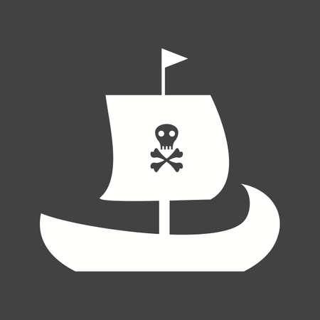 Pirate Ship  Icon isolated on black background. Vector illustration. Çizim