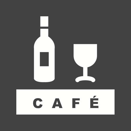 Drinks Cafe icon in white silhouette design, isolated on black background