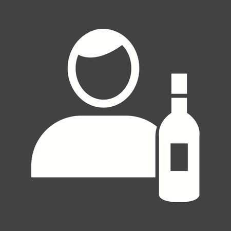 Barkeeper icon with wine bottle in white silhouette illustration, isolated on black background