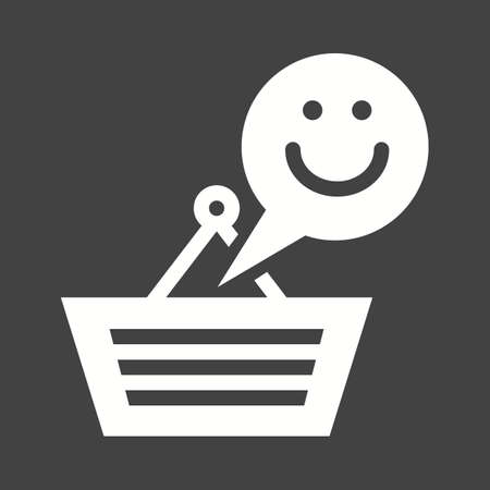 Happy Customer Icon isolated on  plain black  background