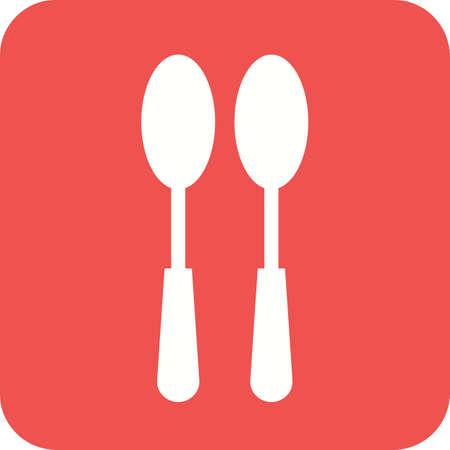 Spoons, fork, silver vector illustration on plain background