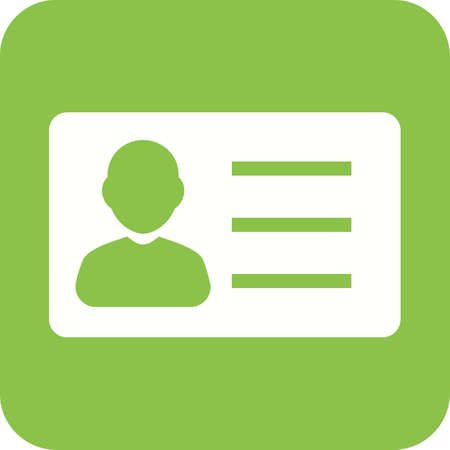 ID Card icon isolated in green. Illustration
