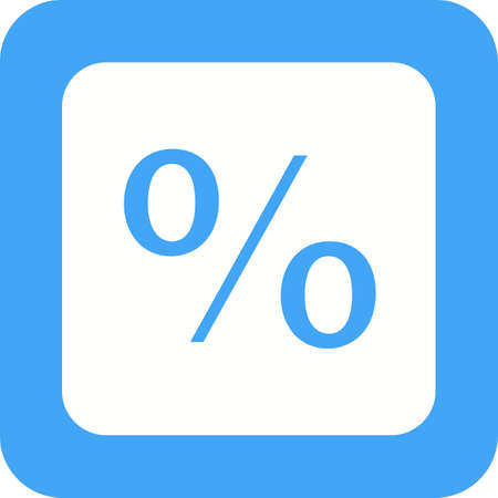 Percentage sign icon in white and blue.