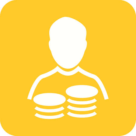 Savings Account symbol in white and yellow. Illustration