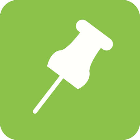 Affixing pin Icon in white and green.