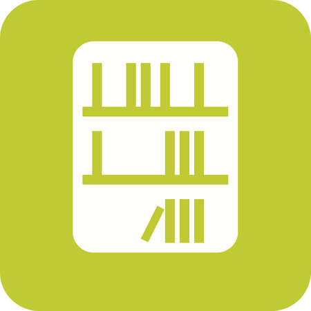 Biblioteca, libro y estantería en verde y blanco.