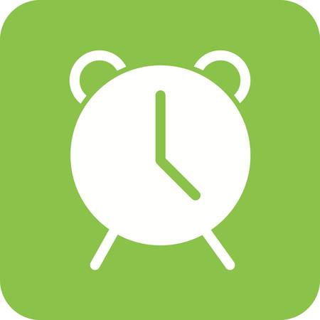 Alarm and bell icon in green and white.