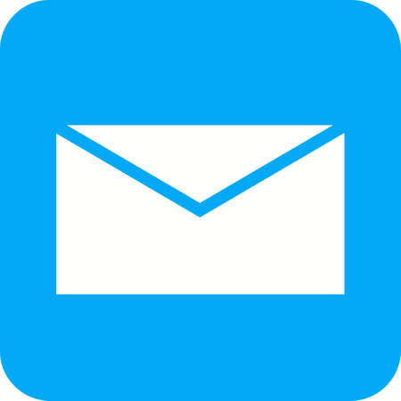 Mail or message icon in white and blue. Illustration