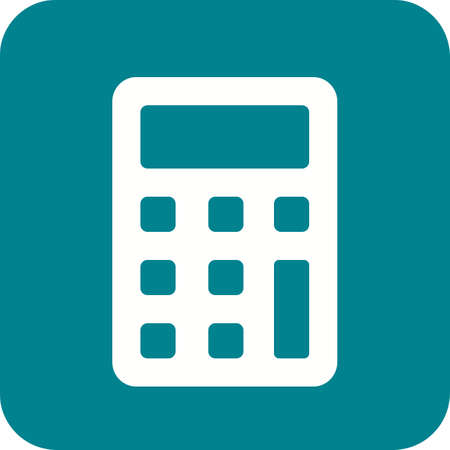 Calculator for computation icon in green and white. Иллюстрация