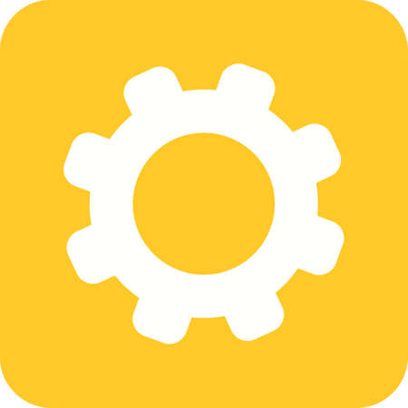 Settings, controls, and options mobile icon in yellow and white.