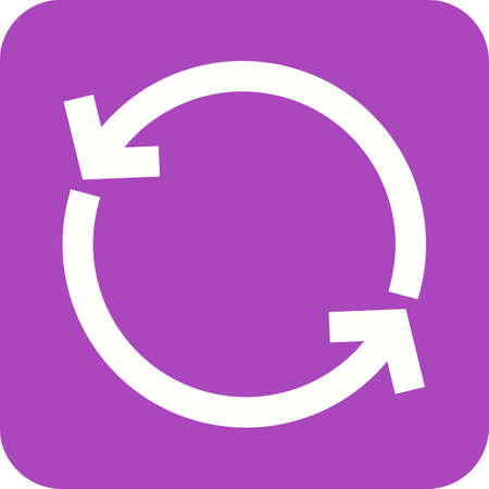 Sync and reload icon in purple and white.