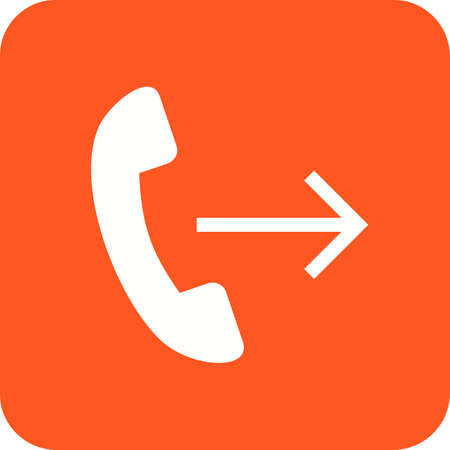 Call forwarding icon in red and white.