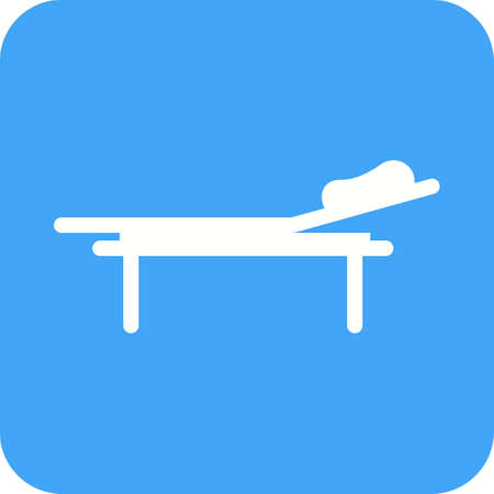 A hospital bed icon in blue and white.