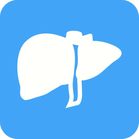 A human liver icon in blue and white.