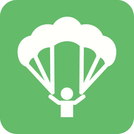 Paragliding icon image. Can also be used for fitness, recreation. Suitable for web apps, mobile apps and print media.