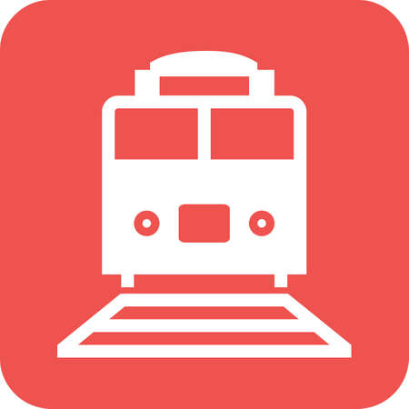 Train on red background icon. Illustration