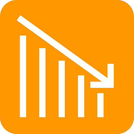 Bank crisis arrow down Icon Vector illustration.