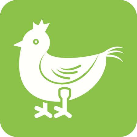Chicken icon in green background Ilustração