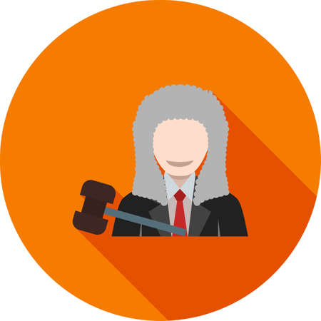 Judge icon with his mallet, isolated on a circular design with shadow background.