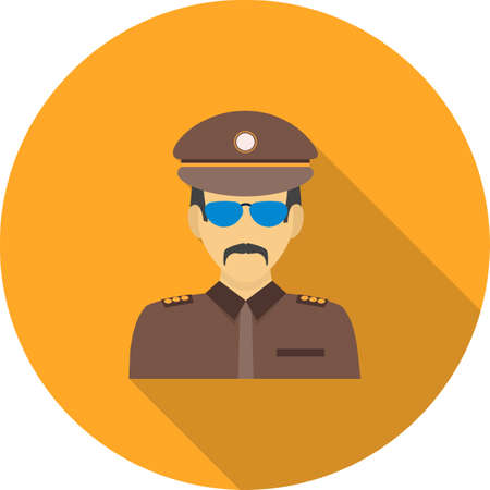 Militant party icon with cap and a sunglasses,  isolated on a circular design with colored shadow background.