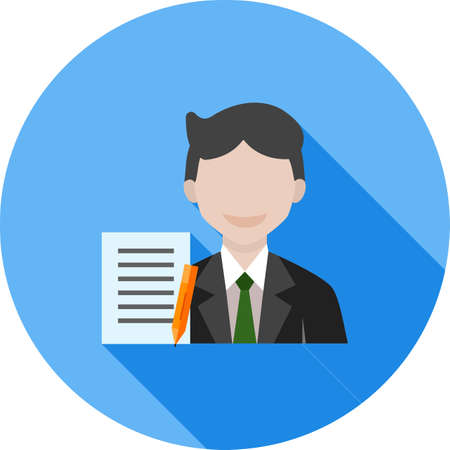 Secretary icon with pen and notepad, isolated on a circular colored design with shadow background