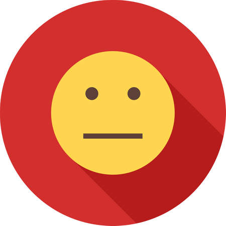 Straight Face Emoticon, on a circular background design with long shadow