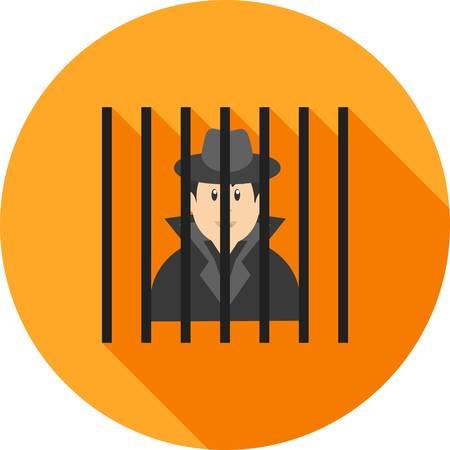 Criminal behind bars Standard-Bild - 100074576