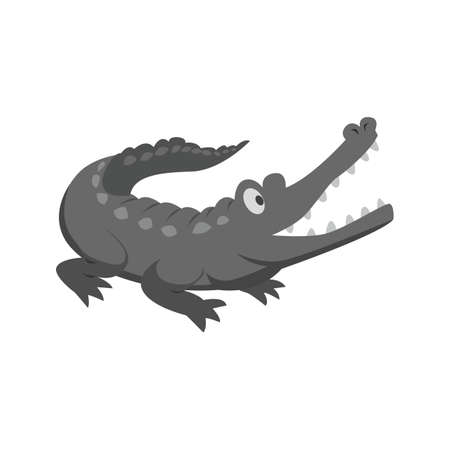 Alligator, crocodile, green icon vector image.